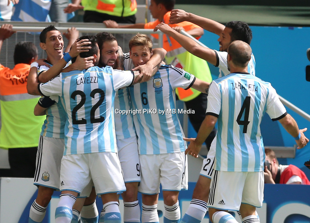 Fifa Soccer World Cup - Brazil 2014 - <br /> ARGENTINA (ARG) Vs. BELGIUM (BEL) - Quarter-finals - Estadio Nacional Brasilia -- Brazil (BRA) - 05 July 2014 <br /> Here Argentine players celebrating their goal. <br /> Gonzalo Higuain At the center<br /> &copy; PikoPress