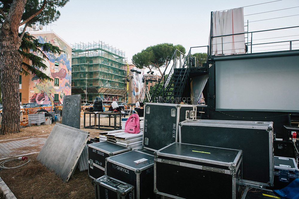ROME, ITALY - 27 JUNE 2017: Cases are seen here in the backstage of the &quot;Don Giovanni OperaCamion&quot;, an open-air opera performed on a truck in San Basilio, a suburb in Rome, Italy, on June 27th 2017.<br /> <br /> Director Fabio Cherstich&rsquo;s idae of an &ldquo;opera truck&rdquo; was conceived as a way of bringing the musical theatre to a new, mixed, non elitist public, and have it perceived as a moment of cultural sharing, intelligent entertainment and no longer as an inaccessible and costly event. The truck becomes a stage that goes from square to square with its orchestra and its company of singers in Rome. <br /> <br /> &ldquo;Don Giovanni Opera Camion&rdquo;, after &ldquo;Don Giovanni&rdquo; by Wolfgang Amadeus Mozart is a new production by the Teatro dell&rsquo;Opera di Roma, conceived and directed by Fabio Cherstich. Set, videos and costumes by Gianluigi Toccafondo. The Youth Orchestra of the Teatro dell&rsquo;Opera di Roma is conducted by Carlo Donadio.