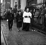 Ireland mourns President Kennedy. Thousands attended requiem Masses all over the country and businesses, schools and universities were closed. Mrs. De Valera , wife of the President, accompanied by the Reverend Fr. Patrick Murray and Col. Sean Brennan, Aide-de-Camp, leaving the Pro-Cathedral after the Mass..26.11.1963