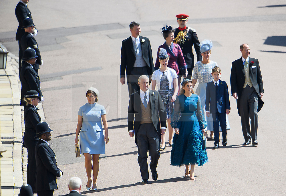 © Licensed to London News Pictures. 19/05/2018. London, UK. Members of the Royal Family, including PRINCE ANDREW, SOHIE OF WESSEX, PRINCE EDWARD, LADY LOUSE WINDSOR, PRINCESS MARGARET , PRINCESS BEATRICE and PRINCESS EUGINIE  arrive at The wedding of Prince Harry, The Duke of Sussex to Meghan Markle, The Duchess of Sussex, at St George's Chapel in Windsor. Photo credit: Ben Cawthra/LNP