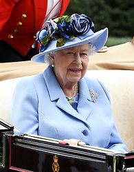 Queen Elizabeth II arriving by carriage during day one of Royal Ascot at Ascot Racecourse.