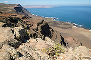 Steep coastal cliffs Risco de Famara looking south, Lanzarote, Canary Islands, Spain