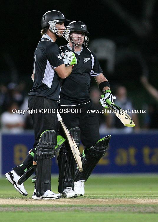 Scott Styris and Shane Bond celebrate the winning runs. New Zealand Black Caps v Australia. 1st ODI, Chappell-Hadlee Trophy Series. McLean Park, Napier. Wednesday 03 March 2010  Photo: John Cowpland/PHOTOSPORT