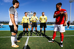 Marlon Pack of Bristol City and Chris Martin of Derby County during the 2nd leg of the match after the previous day's game was abandoned at half time due to extreme weather - Rogan/JMP - 14/07/2019 - IMG Academy, Bradenton - Florida, USA - Bristol City v Derby County - Pre-Season Tour Day 3.