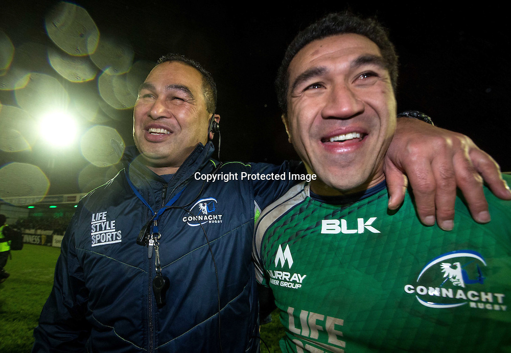 Guinness PRO12, Sportsground, Galway 1/1/2015<br /> Connacht vs Munster<br /> Connacht's head coach Pat Lam and Mils Muliaina celebrate<br /> Mandatory Credit &copy;INPHO/James Crombie