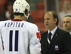 Anze Kopitar (11) of Slovenia, best Slovenian player of the game, and Damjan Mihevc at ice-hockey match USA vs Slovenia at Preliminary Round (group B) of IIHF WC 2008 in Halifax, on May 04, 2008 in Metro Center, Halifax, Nova Scotia, Canada. (Photo by Vid Ponikvar / Sportal Images)