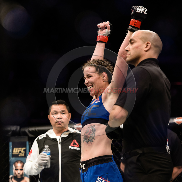 "GLASGOW, UNITED KINGDOM, JULY 16, 2017: Leslie Smith celebrates her win over Amanda Lemos (not pictured) during ""UFC Fight Night Glasgow: Nelson vs. Ponzinibbio"" inside the SSE Hydro Arena in Glasgow, Scotland on Sunday, July 16, 2017."