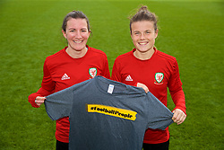 NEWPORT, WALES - Friday, October 5, 2018: Wales' Helen Ward (L) and Hayley Ladd (R) with a Football People T-shirt during a training session at Dragon Park. (Pic by David Rawcliffe/Propaganda)