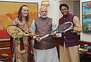 Martina Hingis & Leander Paes Meet PM Modi