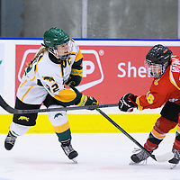5th year defender Alexis Larson (22) of the Regina Cougars in action during the Women's Hockey Home Game on November 25 at Co-operators arena. Credit: Arthur Ward/Arthur Images