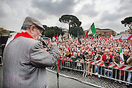 Rome apr 25th 2015, 70° anniversary of the liberation from nazism and fascism, demo in Piazzale Ostiense, the place were begin the Resistance in Rome. In the picture an old partizan spaks to people - ©PIERPAOLO SCAVUZZO