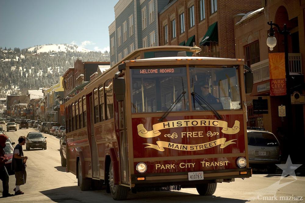 Main Street Trolley during sunny day on Main St., Park City, Utah USA