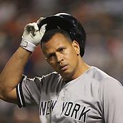 Alex Rodriguez, New York Yankees, prepares to pinch hit during the New York Mets Vs New York Yankees MLB regular season baseball game at Citi Field, Queens, New York. USA. 18th September 2015. Photo Tim Clayton