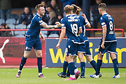 14th September 2019; Dens Park, Dundee, Scotland; Scottish Championship, Dundee Football Club versus Alloa Athletic; Jordan McGhee of Dundee is congratulated after scoring for 2-1 in the 38th minute
