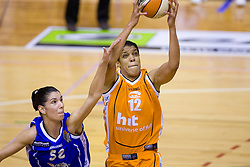 Ivona Matic vs Khaili Sanders at finals match of Slovenian 1st Women league between KK Hit Kranjska Gora and ZKK Merkur Celje, on May 14, 2009, in Arena Vitranc, Kranjska Gora, Slovenia. Merkur Celje won the third time and became Slovenian National Champion. (Photo by Vid Ponikvar / Sportida)