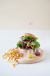 Vegan Burger with Dehydrated Apple Fries
