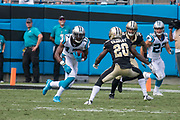 Devin Funchess(17) goes for more yards after the catch in the New Orleans Saints 34 to 13 victory over the Carolina Panthers.