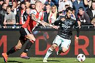 23-10-2016: Voetbal: Feyenoord v Ajax: Rotterdam<br /> <br /> (L-R) Feyenoord speler Rick Karsdorp, Ajax speler Aminn Younes tijdens het Eredivsie duel tussen Feyenoord en Ajax op 23 oktober in stadion Feijenoord (de Kuip) tijdens speelronde 10<br /> <br /> Eredivisie - Seizoen 2016 / 2017<br /> <br /> Foto: Gertjan Kooij