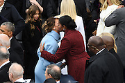 First Lady Melania Trump embraces former First Lady Michelle Obama after her husband was sworn-in as the 45th President during the 68th Inaugural Ceremony on Capitol Hill January 20, 2017 in Washington, DC.