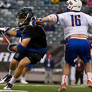 April 01,  2012:  Duke attack Will Haus (6) takes a stick to the chest from Syracuse midfielder Ryan Barber (16) during the Big City Classic at  Met Life Stadium in East Rutherford, New Jersey . Duke defeated Syracuse 12-10. (Credit Image: © Kostas Lymperopoulos/Cal Sport Media)