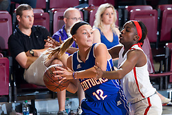Kentucky Girls All-Star Kaylee Cotton, left, is pressured by Indiana Girls All-Star Jackie Young in the second half. The Kentucky vs. Indiana All-Star Classic was held, Sunday, June 12, 2016 at Knights Hall in Louisville.