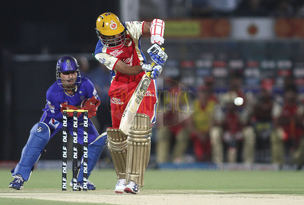 Tilakaratne Dilshan of the Royal Challengers Bangalore plays a delivery through the legside during match 30 of the the Indian Premier League (IPL) 2012  between The Rajasthan Royals and the Royal Challengers Bangalore held at the Sawai Mansingh Stadium in Jaipur on the 23rd April 2012..Photo by Shaun Roy/IPL/SPORTZPICS