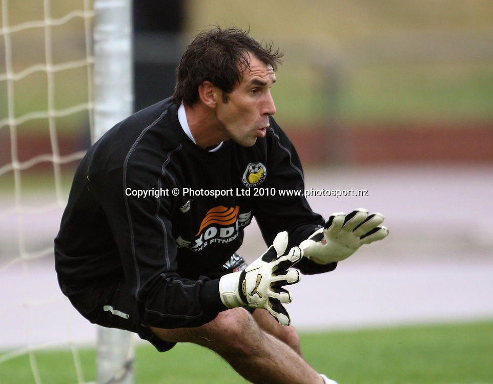 Team Wellington keeper and captain Jim Bannatyne warms up.<br /> NZFC soccer  - Team Wellington v Waitakere United at Newtown Park, Wellington. Sunday, 4 April 2010. Photo: Dave Lintott/PHOTOSPORT