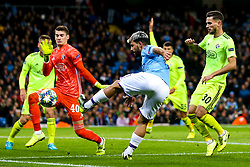 Sergio Aguero of Manchester City shoots at goal - Mandatory by-line: Robbie Stephenson/JMP - 01/10/2019 - FOOTBALL - Etihad Stadium - Manchester, England - Manchester City v Dinamo Zagreb - UEFA Champions League Group Stage