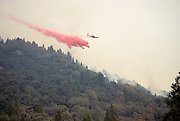 Fixed wing aircraft, retardant drop, Sequoia and Kings Canyon National Park, California