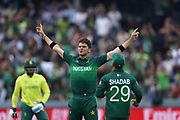 Shaheen Afridi celebrates bowling David Miller during the Cricket World Cup 2019 match between Pakistan and South Africa at Lord's on 23 June 2019.<br /> Copyright photo: Graham Morris / www.photosport.nz