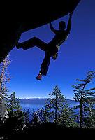 Chris McNamara bouldering at DL Bliss State Park; Lake Tahoe, CA.<br />