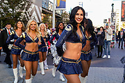 LA Rams cheerleaders arrive at Wembley during the International Series match between Los Angeles Rams and Cincinnati Bengals at Wembley Stadium, London, England on 27 October 2019.