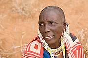 TANZANIA. Longido Mountain Area..August 3rd 2009..A Maasai woman..