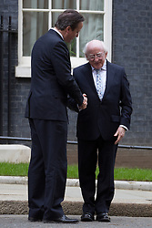Irish President Higgins meets PM at Downing Street. The President of Ireland Michael D Higgins meets David Cameron in an historic first state visit to UK. 10 Downing Street, London, United Kingdom. Wednesday, 9th April 2014. Picture by Daniel Leal-Olivas / i-Images