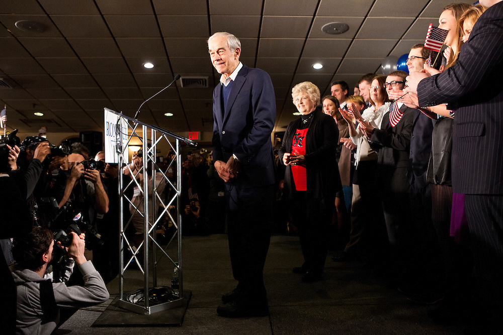 Republican presidential candidate Ron Paul holds his primary night rally at the Executive Court banquet facility on Tuesday, January 10, 2012 in Manchester, NH. Brendan Hoffman for the New York Times