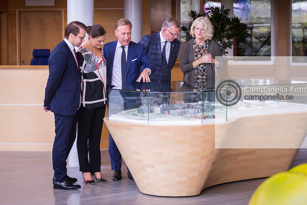 GOTHENBURG, SWEDEN - SEPTEMBER 10:  AstraZeneca CEO Jan-Olof Jacke shows Crown Princess Victoria of Sweden and prince Daniel Westling a model of the complex during a visit to the headquarters of AstraZeneca pharmaceutical on September 10, 2015 in Gothenburg, Sweden. (Photo by Michael Campanella/Getty Images)