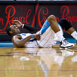 December 17, 2010; New Orleans, LA, USA; New Orleans Hornets point guard Chris Paul (3) lays on the floor after being knocked down during the first half of a game against the Utah Jazz at the New Orleans Arena.  Mandatory Credit: Derick E. Hingle