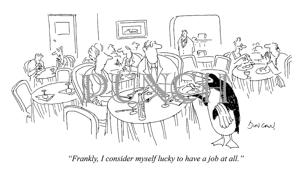 """Frankly, I consider myself lucky to have a job at all."""
