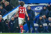 RED CARD Arsenal defender David Luiz (23) is sent off, walks past Chelsea manager Frank Lampard, during the Premier League match between Chelsea and Arsenal at Stamford Bridge, London, England on 21 January 2020.