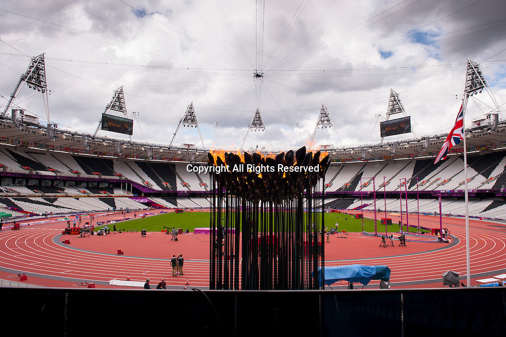 02.08.2012. London, England. The Olympic Flame can be seen in its new location within the Olympic Stadium on Day 6 of the London 2012 Olympic Games on the Olympic Park.