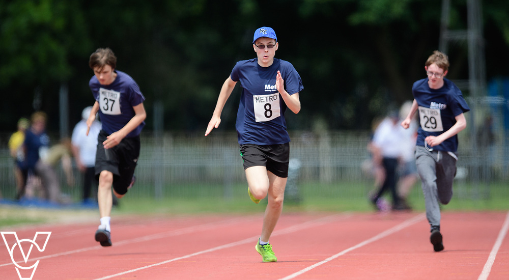 Metro Blind Sport's 2017 Athletics Open held at Mile End Stadium.  100m.  From left, Andrew Lancaster, Luke Boulding and Steven Magee.<br /> <br /> Picture: Chris Vaughan Photography for Metro Blind Sport<br /> Date: June 17, 2017
