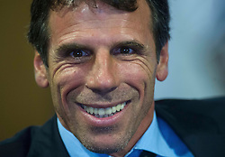 © Licensed to London News Pictures. 10/07/2012 Watford, UK. .Watford FC present the clubs's new manager Gianfranco Zola at a press conference at Vicarage Road Stadium. The 46 year old Italian has signed a two-year deal at the npower Championship club, an appointment that signals the former Chelsea player's return to English football, two years after he left charge of West Ham. Photo credit : Simon Jacobs/LNP