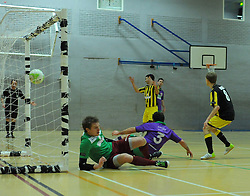 BCFC Futsal increase there lead by scoring another goal against Gloucestershire Futsal - Photo mandatory by-line: Nizaam Jones - Mobile: 07966 386802 - 08/02/2015 - SPORT - Football - Gloucestershire - GL1 Leisure Centre - Gloucestershire Futsal v BCFC Futsal - Futsal