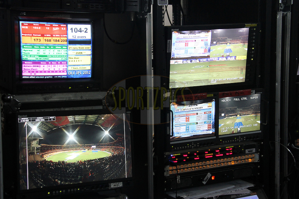 TV production room during match 34 of the the Indian Premier League ( IPL) 2012  between The Royal Challengers Bangalore and the Chennai Superkings held at the M. Chinnaswamy Stadium, Bengaluru on the 25th April 2012..Photo by Prashant Bhoot/IPL/SPORTZPICS