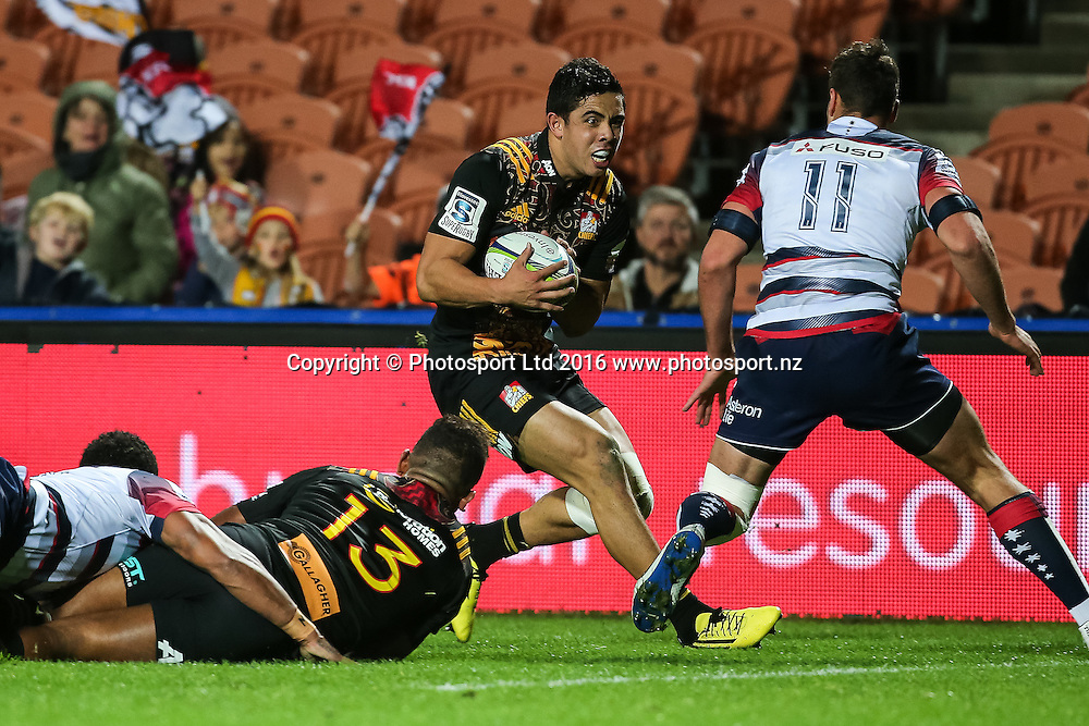 Chiefs Anton Lienert-Brown in action during the Super Rugby match - Chiefs v Rebels played at FMG Stadium Waikato, Hamilton, New Zealand on Saturday 21 May 2016. <br /> <br /> Copyright Photo: Bruce Lim / www.photosport.nz
