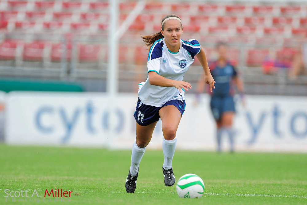 VSI Tampa Bay defender Karina Gutsche (11) in action against the Charlotee Lady Eagles in a USL W-League soccer match at Plant City stadium in Plant City, Florida on June 7, 2013.<br /> <br /> &copy;2013 Scott A. Miller