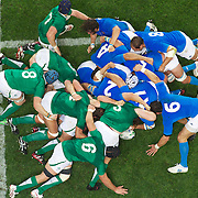 The scrum breaks down during the Ireland V Italy Pool C match during the IRB Rugby World Cup tournament. Otago Stadium, Dunedin, New Zealand, 2nd October 2011. Photo Tim Clayton...