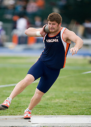 Eric Pickle competes for Virginia in the shot put.  The Virginia Cavaliers men's and women's track and field teams hosted the Missouri Tigers.  The Virginia women defeated Missouri while the Mizzou men defeated UVA on April 5, 2008 at The University of Virginia's Lannigan Field in Charlottesville, VA.