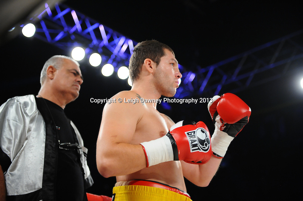 Chris Eubank Jnr defeats Alexy Ribchev (pictured) in round three of a middleweight contest on Saturday 14th September 2013 at the Magna Centre, Rotherham. Hennessy Sports. Self billing applies. © Credit: Leigh Dawney Photography.