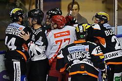 31.01.2012, Eisstadion Liebenau, Graz, AUT, EBEL, Graz 99ers vs HK Acroni Jesenice, im Bild Guillaume Lefebvre, (99ers, #14), Jan Bercic, (Jesenice, #77), Yvan Busque, (99ers, #25), Sven Klimbacher, (99ers, #29) // during the ice hockey game between Graz 99ers and HK Acroni Jesenice at the Eisstadion Liebenau, Graz, Austria, 2012/01/31, EXPA Pictures © 2012, PhotoCredit: EXPA/ S. Zangrando